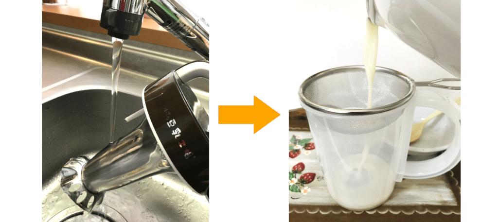 カッター・かくはん器を洗う様子と豆乳をこしている画像